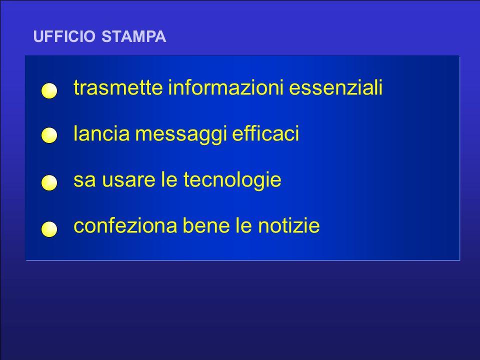 UFFICIO STAMPA trasmette informazioni essenziali lancia messaggi efficaci sa usare le tecnologie confeziona bene le notizie