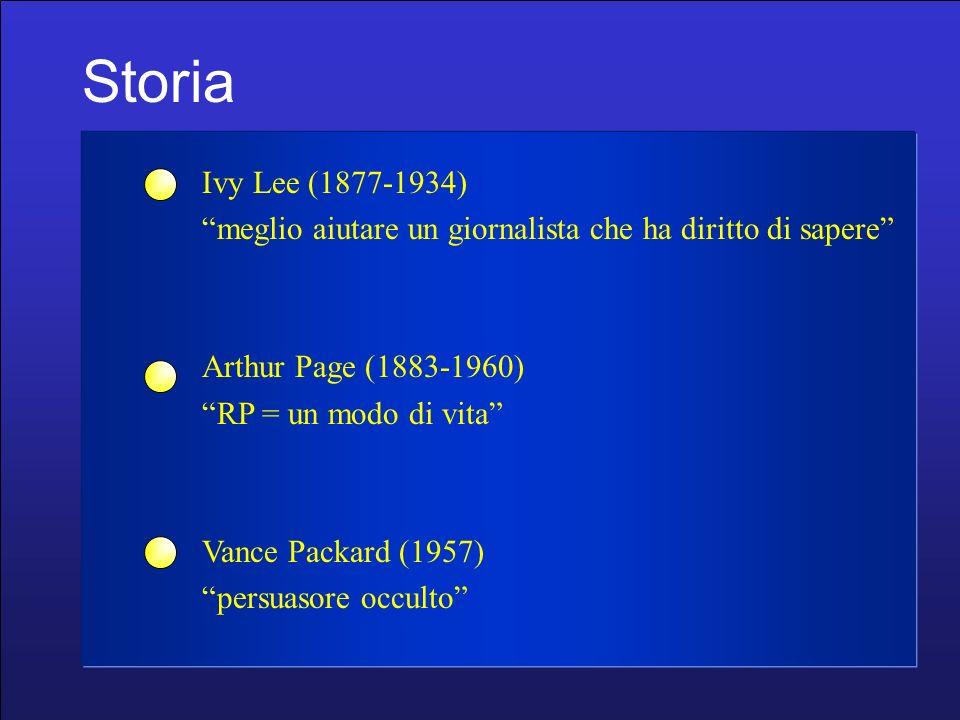 Storia Ivy Lee (1877-1934) meglio aiutare un giornalista che ha diritto di sapere Arthur Page (1883-1960) RP = un modo di vita Vance Packard (1957) persuasore occulto