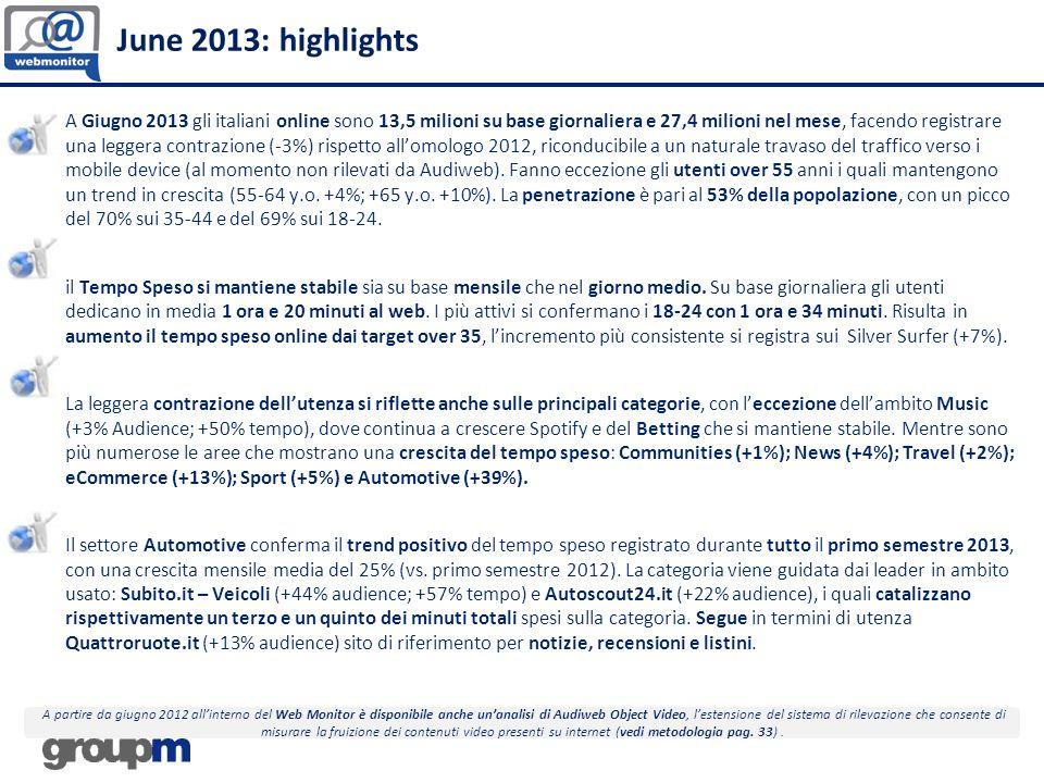 June 2013: highlights A Giugno 2013 gli italiani online sono 13,5 milioni su base giornaliera e 27,4 milioni nel mese, facendo registrare una leggera