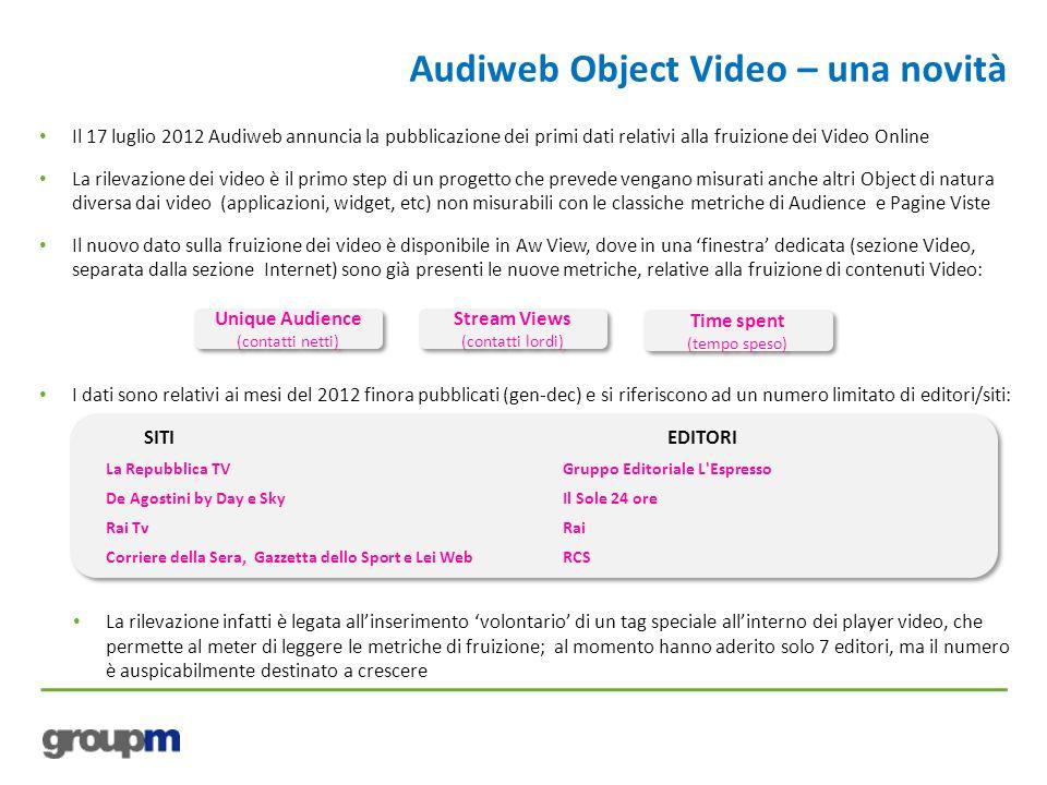 Audiweb Object Video – una novità Il 17 luglio 2012 Audiweb annuncia la pubblicazione dei primi dati relativi alla fruizione dei Video Online La rilev