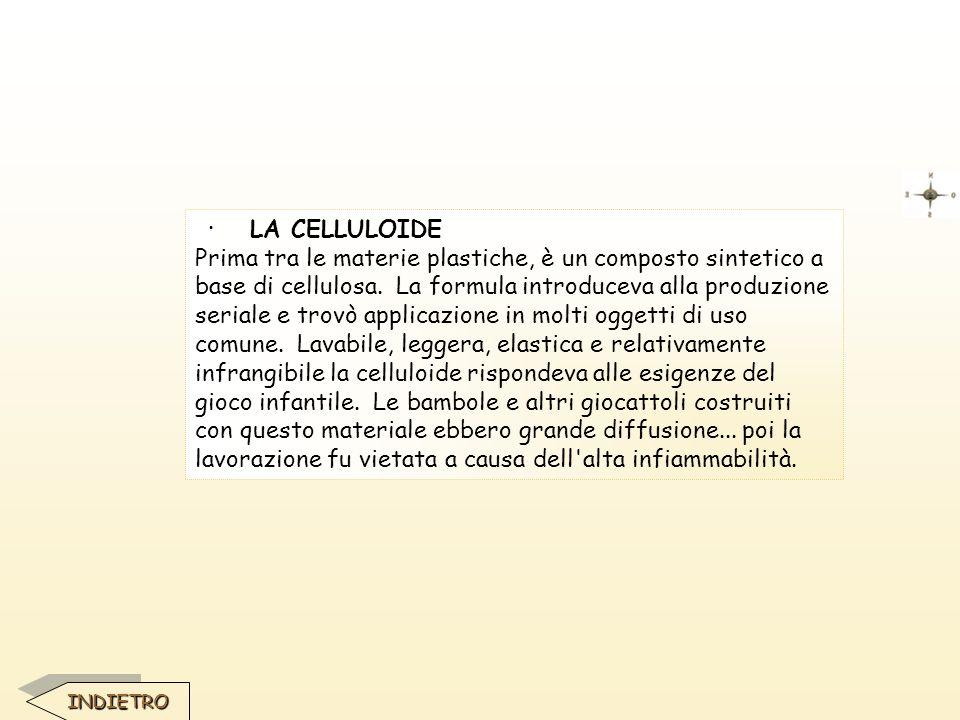 · LA CELLULOIDE Prima tra le materie plastiche, è un composto sintetico a base di cellulosa. La formula introduceva alla produzione seriale e trovò ap