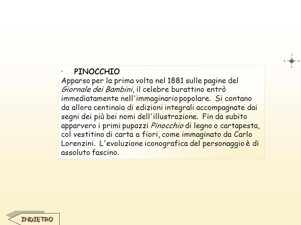 · PINOCCHIO Apparso per la prima volta nel 1881 sulle pagine del Giornale dei Bambini, il celebre burattino entrò immediatamente nell'immaginario popo