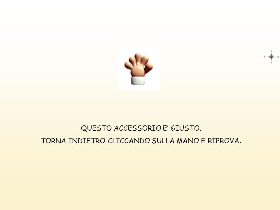 QUESTO ACCESSORIO E GIUSTO. TORNA INDIETRO CLICCANDO SULLA MANO E RIPROVA.