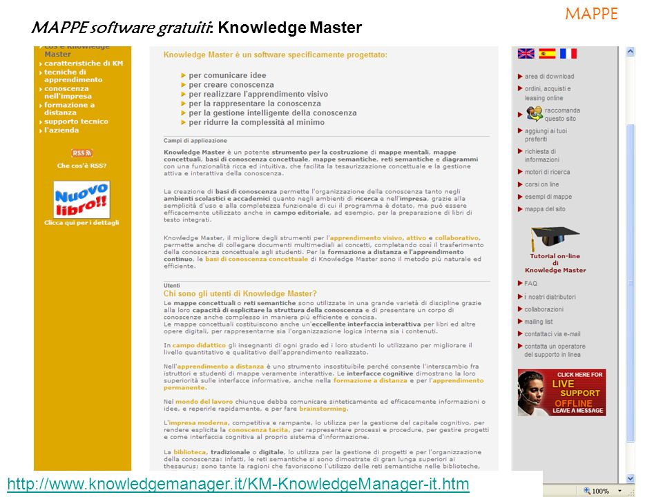 MAPPE software gratuiti: Knowledge Master http://www.knowledgemanager.it/KM-KnowledgeManager-it.htm MAPPE