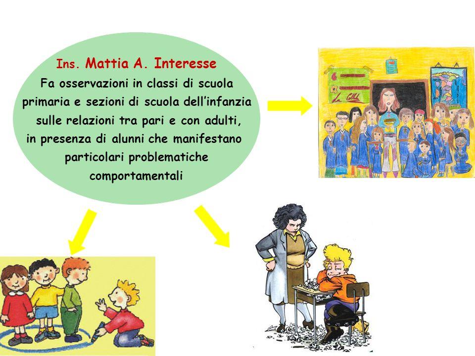 Ins. Mattia A. Interesse Fa osservazioni in classi di scuola primaria e sezioni di scuola dellinfanzia sulle relazioni tra pari e con adulti, in prese