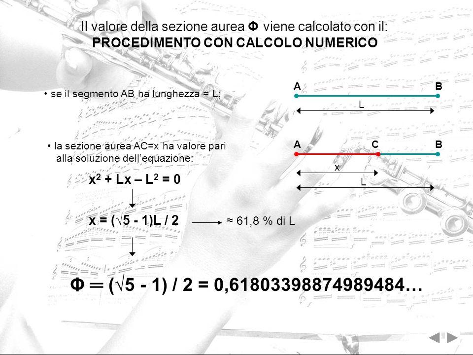 Il valore della sezione aurea Φ viene calcolato con il: PROCEDIMENTO CON CALCOLO NUMERICO se il segmento AB ha lunghezza = L; AB L A C B la sezione au