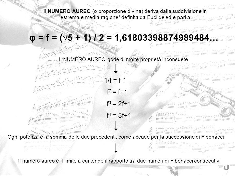 Il NUMERO AUREO (o proporzione divina) deriva dalla suddivisione in estrema e media ragione definita da Euclide ed è pari a: φ = f = (5 + 1) / 2 = 1,6