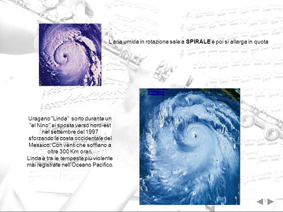 Laria umida in rotazione sale a SPIRALE e poi si allarga in quota Uragano