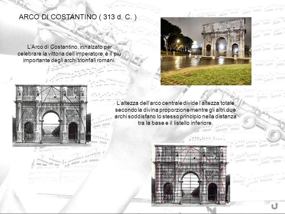 LArco di Costantino, innalzato per celebrare la vittoria dellimperatore, è il più importante degli archi trionfali romani. Laltezza dellarco centrale