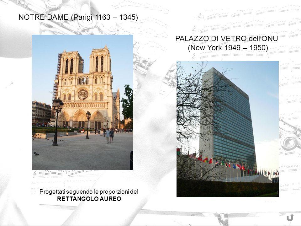 Progettati seguendo le proporzioni del RETTANGOLO AUREO NOTRE DAME (Parigi 1163 – 1345) PALAZZO DI VETRO dellONU (New York 1949 – 1950)