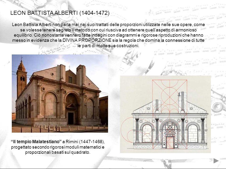 Leon Battista Alberti non parla mai nei suoi trattati delle proporzioni utilizzate nelle sue opere, come se volesse tenere segreto il metodo con cui r
