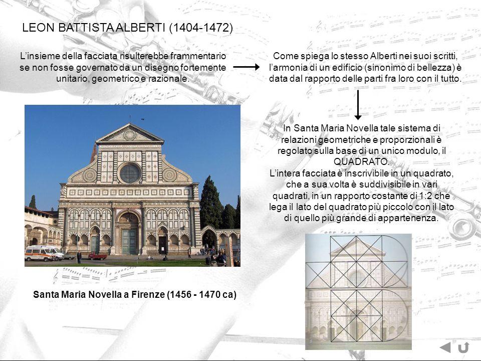 Come spiega lo stesso Alberti nei suoi scritti, larmonia di un edificio (sinonimo di bellezza) è data dal rapporto delle parti fra loro con il tutto.