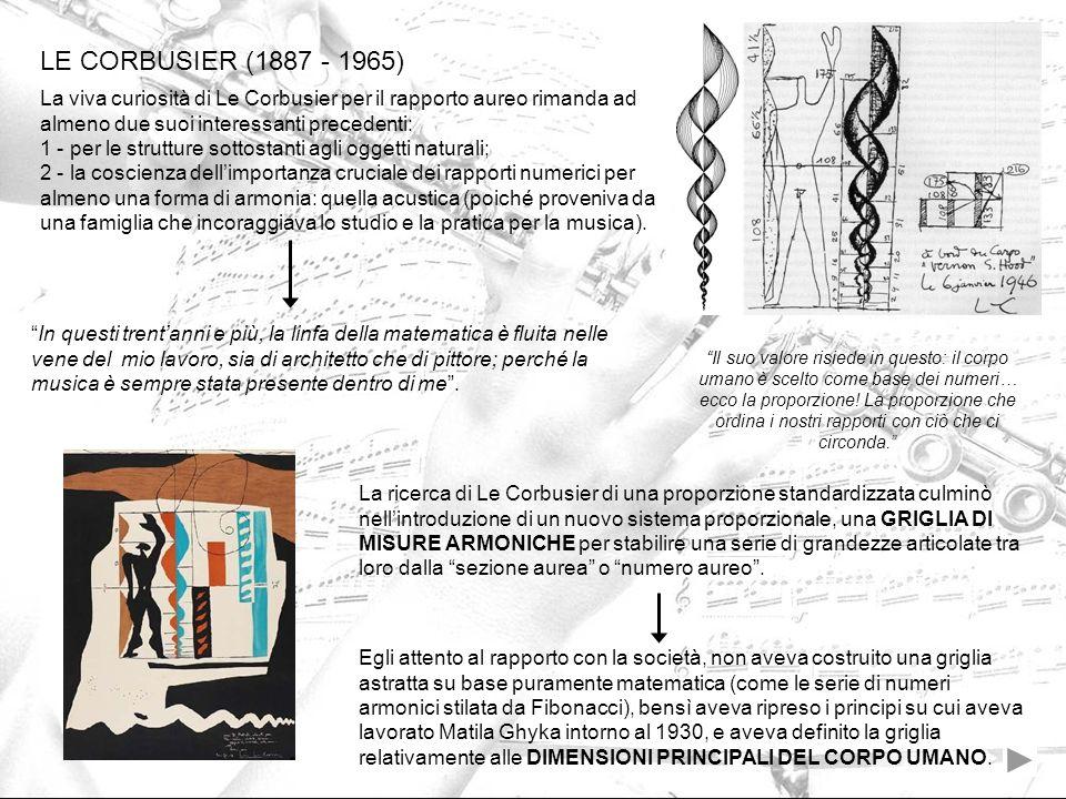 La viva curiosità di Le Corbusier per il rapporto aureo rimanda ad almeno due suoi interessanti precedenti: 1 - per le strutture sottostanti agli ogge