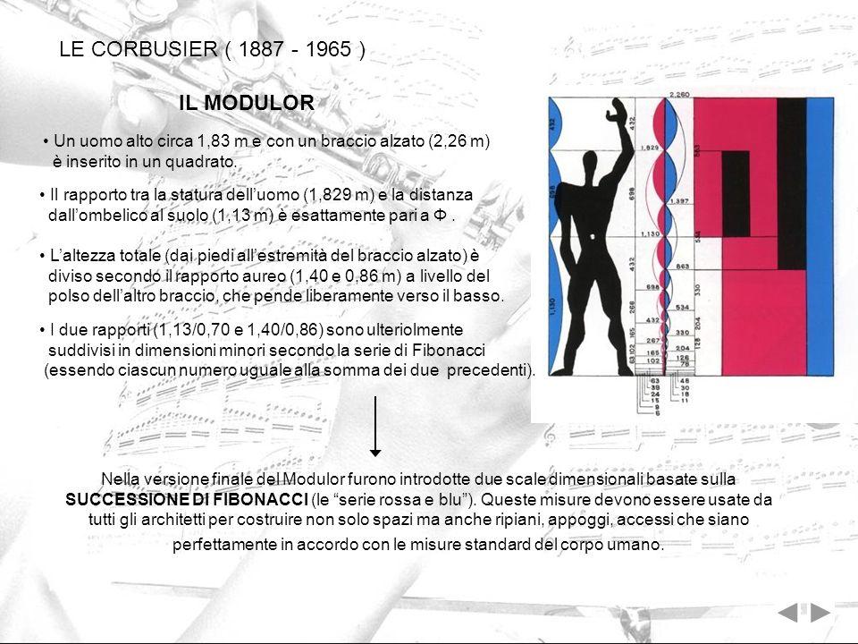 Un uomo alto circa 1,83 m e con un braccio alzato (2,26 m) è inserito in un quadrato. LE CORBUSIER ( 1887 - 1965 ) Nella versione finale del Modulor f