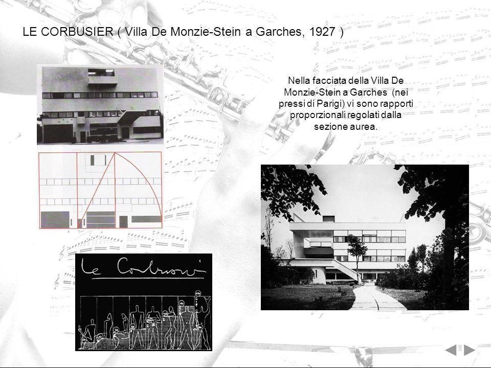 LE CORBUSIER ( Villa De Monzie-Stein a Garches, 1927 ) Nella facciata della Villa De Monzie-Stein a Garches (nei pressi di Parigi) vi sono rapporti pr