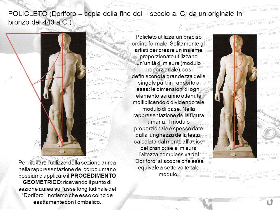 POLICLETO (Doriforo – copia della fine del II secolo a. C. da un originale in bronzo del 440 a.C.) Per rilevare lutilizzo della sezione aurea nella ra