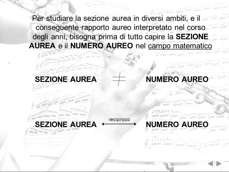 Il numero doro della sezione aurea è lunico numero esistente per cui valgono le seguenti condizioni: aggiungendo il numero 1 al numero aureo 1,618 si ottiene il suo quadrato 0,618 = 1/1,618 = 1,618 – 1 sottraendo il numero 1 al numero aureo 1,618 si ottiene il suo valore per inverso e cioè il valore della sezione aurea 1,618 ² = 2,618 = 1,618 + 1