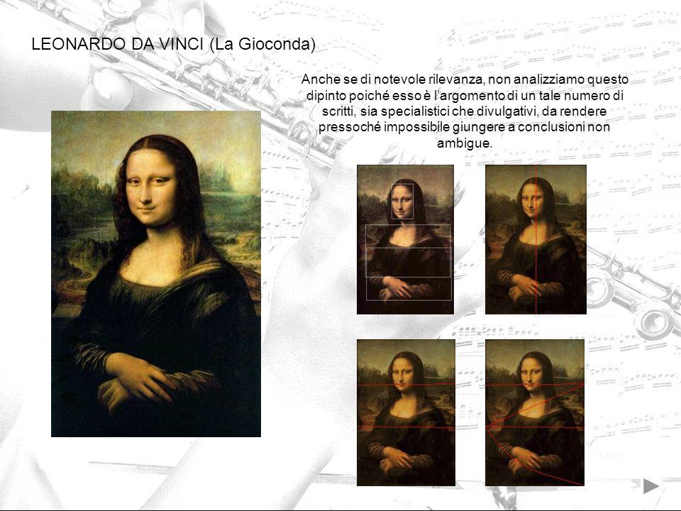 LEONARDO DA VINCI (La Gioconda) Anche se di notevole rilevanza, non analizziamo questo dipinto poiché esso è largomento di un tale numero di scritti,