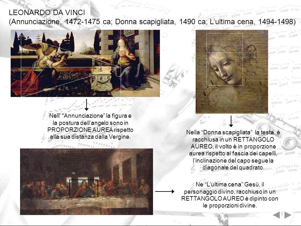 LEONARDO DA VINCI (Annunciazione, 1472-1475 ca; Donna scapigliata, 1490 ca; Lultima cena, 1494-1498) Nell Annunciazione la figura e la postura dellang