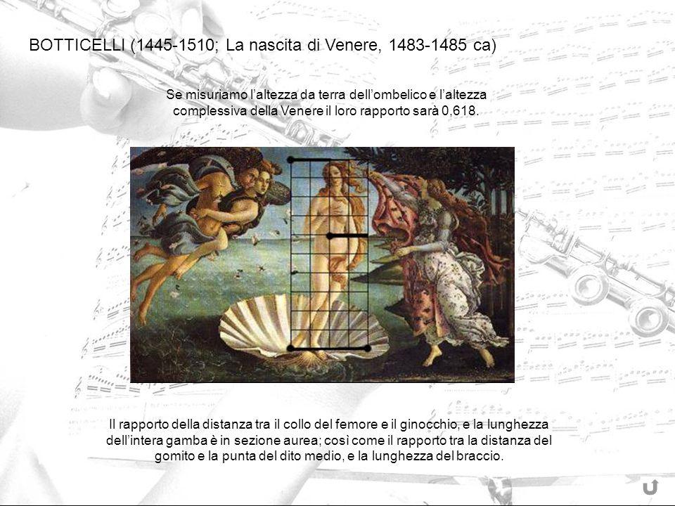 BOTTICELLI (1445-1510; La nascita di Venere, 1483-1485 ca) Se misuriamo laltezza da terra dellombelico e laltezza complessiva della Venere il loro rap