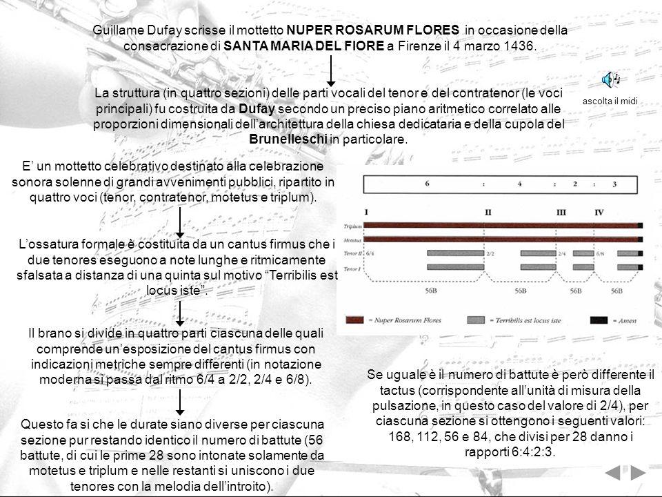 Guillame Dufay scrisse il mottetto NUPER ROSARUM FLORES in occasione della consacrazione di SANTA MARIA DEL FIORE a Firenze il 4 marzo 1436. Questo fa