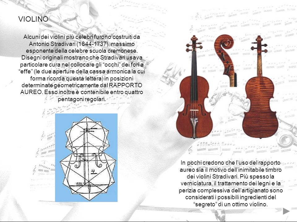 Alcuni dei violini più celebri furono costruiti da Antonio Stradivari (1644-1737), massimo esponente della celebre scuola cremonese. Disegni originali