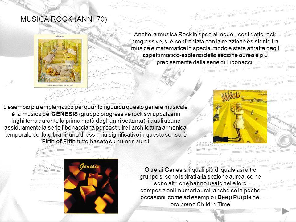 MUSICA ROCK (ANNI 70) Anche la musica Rock in special modo il così detto rock progressive, si è confrontata con la relazione esistente fra musica e ma