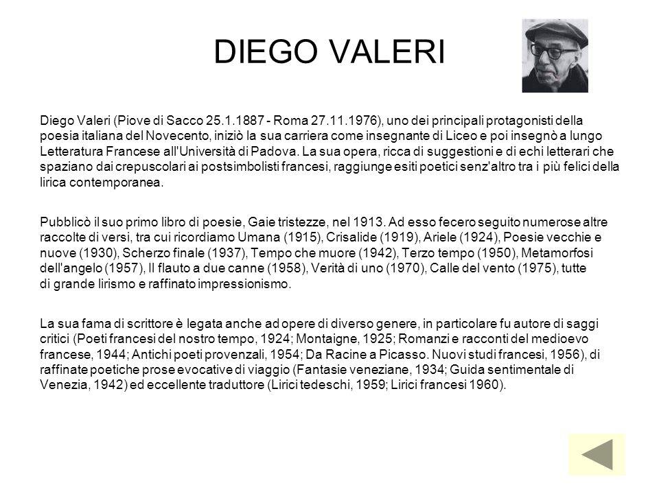 DIEGO VALERI Diego Valeri (Piove di Sacco 25.1.1887 - Roma 27.11.1976), uno dei principali protagonisti della poesia italiana del Novecento, iniziò la