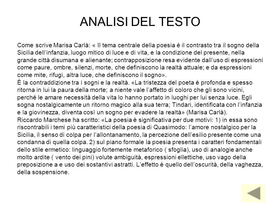 ANALISI DEL TESTO Come scrive Marisa Carlà: « Il tema centrale della poesia è il contrasto tra il sogno della Sicilia dellinfanzia, luogo mitico di lu