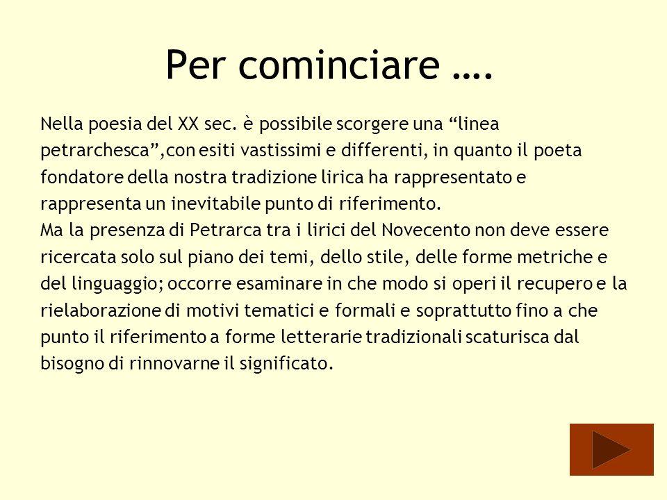 Petrarca e Ungaretti Giuseppe Ungaretti Giuseppe Ungaretti ( 1888 -1970) riprende linclinazione del Petrarca a un continuo lavoro sulla parola poetica, condividendone lansia inesauribile di limare il testo, di apportarvi nuove varianti, che riescano ad esprimere tutte le potenzialità del lessico.