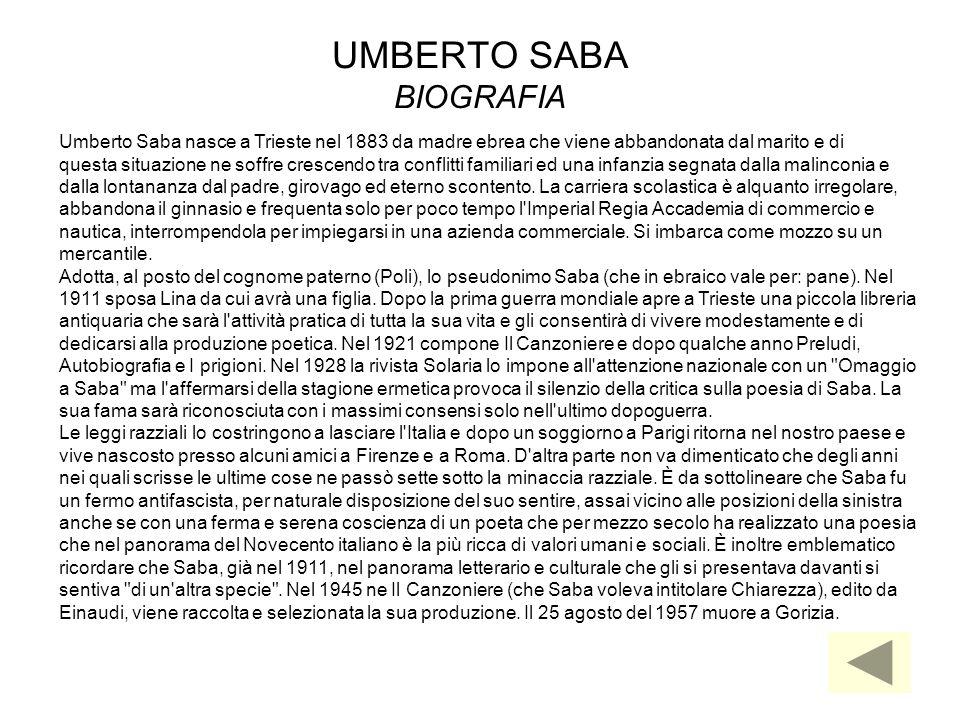UMBERTO SABA BIOGRAFIA Umberto Saba nasce a Trieste nel 1883 da madre ebrea che viene abbandonata dal marito e di questa situazione ne soffre crescend
