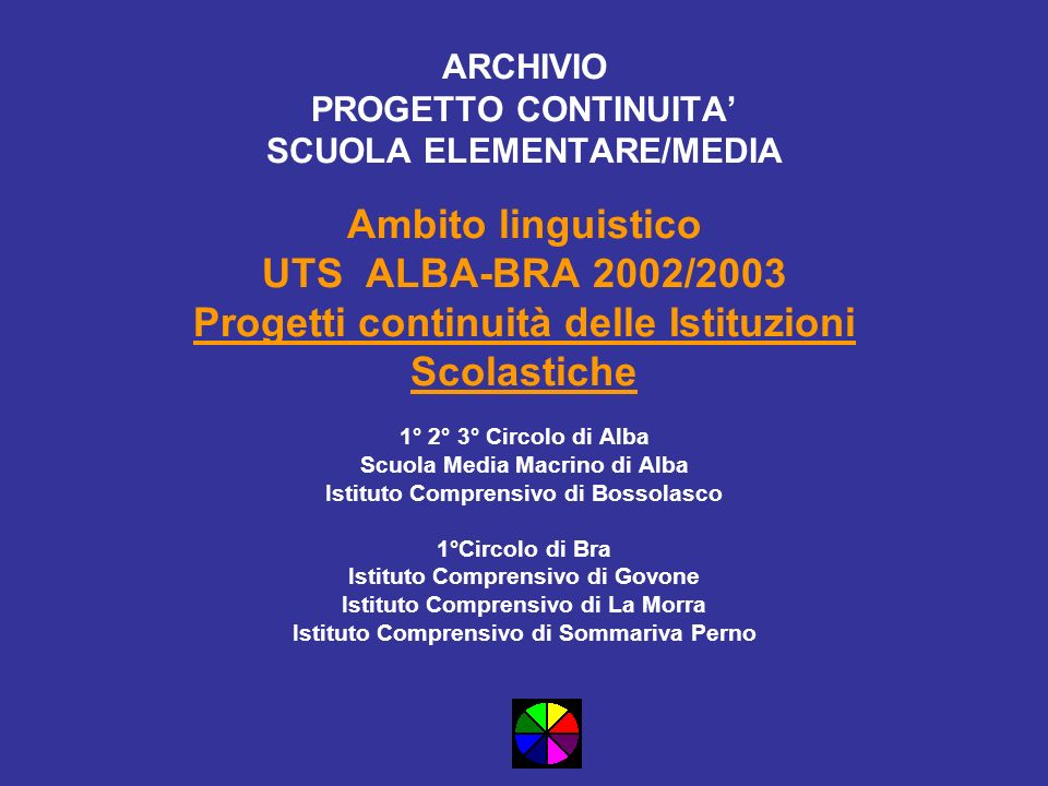 ARCHIVIO PROGETTO CONTINUITA SCUOLA ELEMENTARE/MEDIA Ambito linguistico UTS ALBA-BRA 2002/2003 Progetti continuità delle Istituzioni Scolastiche 1° 2°