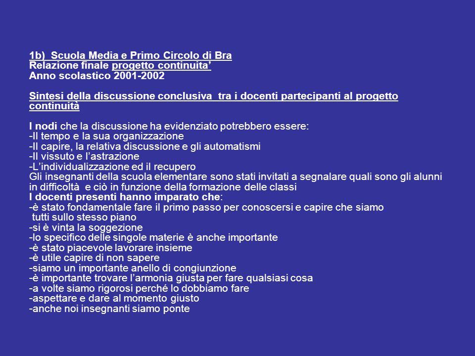 1b) Scuola Media e Primo Circolo di Bra Relazione finale progetto continuita Anno scolastico 2001-2002 Sintesi della discussione conclusiva tra i doce