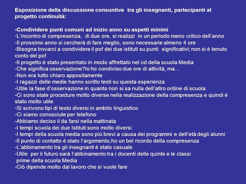 Esposizione della discussione consuntiva tra gli insegnanti, partecipanti al progetto continuità: -Condividere punti comuni ad inizio anno su aspetti