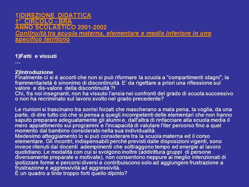 1)DIREZIONE DIDATTICA 1° CIRCOLO - BRA ANNO SCOLASTICO 2001-2002 Continuità tra scuola materna, elementare e media inferiore in uno specifico territor