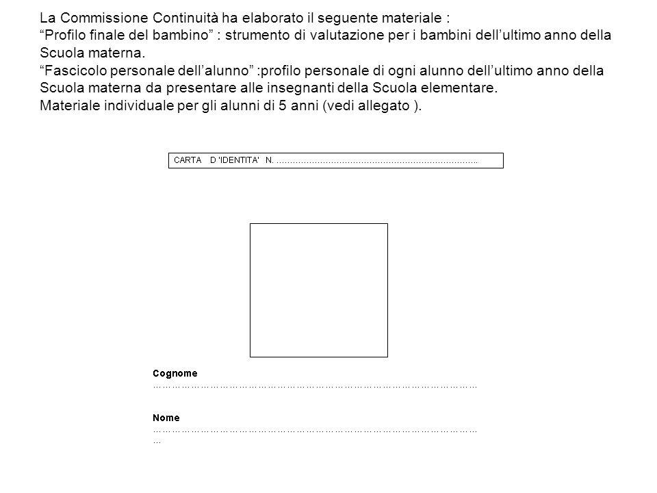 La Commissione Continuità ha elaborato il seguente materiale : Profilo finale del bambino : strumento di valutazione per i bambini dellultimo anno del