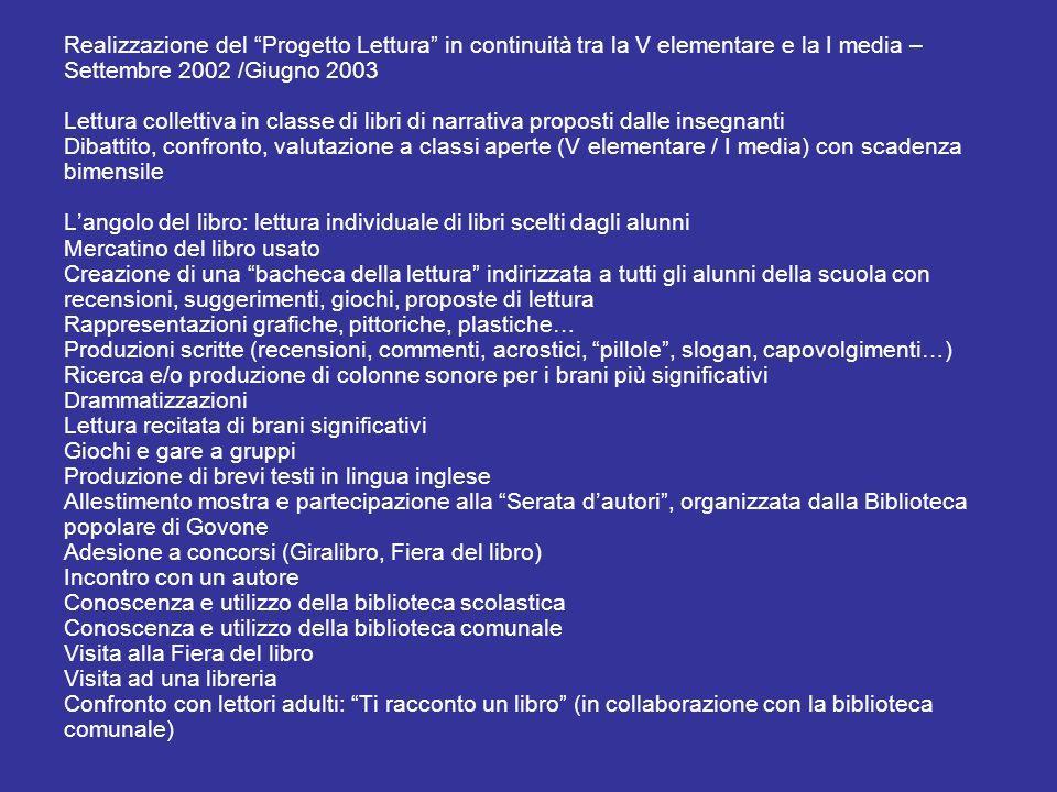 Realizzazione del Progetto Lettura in continuità tra la V elementare e la I media – Settembre 2002 /Giugno 2003 Lettura collettiva in classe di libri