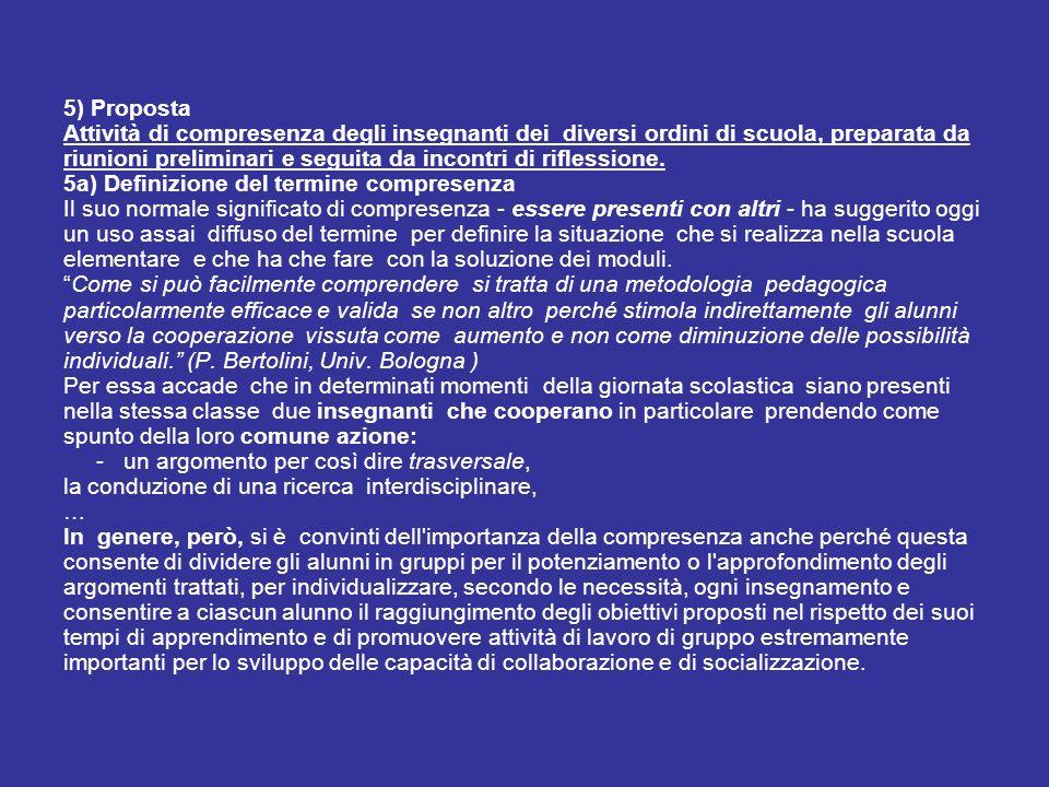 5) Proposta Attività di compresenza degli insegnanti dei diversi ordini di scuola, preparata da riunioni preliminari e seguita da incontri di riflessi