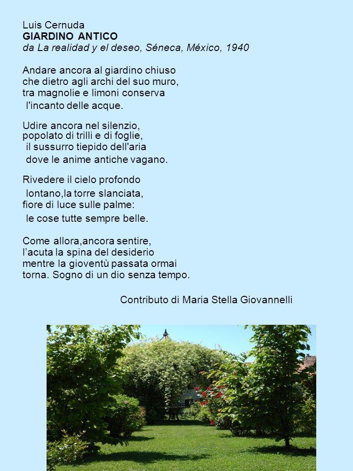 Luis Cernuda GIARDINO ANTICO da La realidad y el deseo, Séneca, México, 1940 Andare ancora al giardino chiuso che dietro agli archi del suo muro, tra