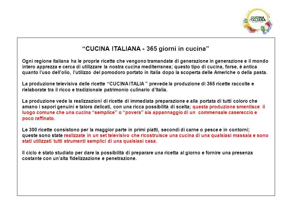 CUCINA ITALIANA - 365 giorni in cucina Ogni regione italiana ha le proprie ricette che vengono tramandate di generazione in generazione e il mondo int