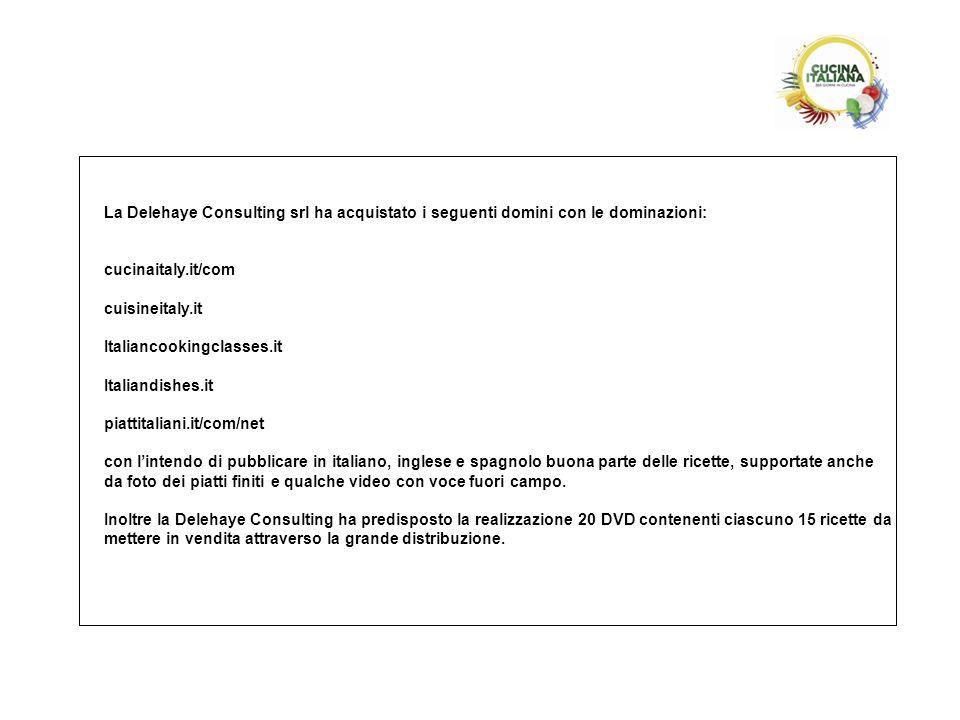 La Delehaye Consulting srl ha acquistato i seguenti domini con le dominazioni: cucinaitaly.it/com cuisineitaly.it Italiancookingclasses.it Italiandish
