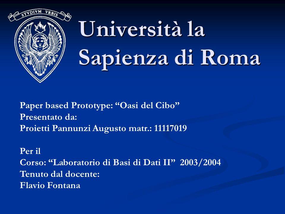 Università la Sapienza di Roma Paper based Prototype: Oasi del Cibo Presentato da: Proietti Pannunzi Augusto matr.: 11117019 Per il Corso: Laboratorio