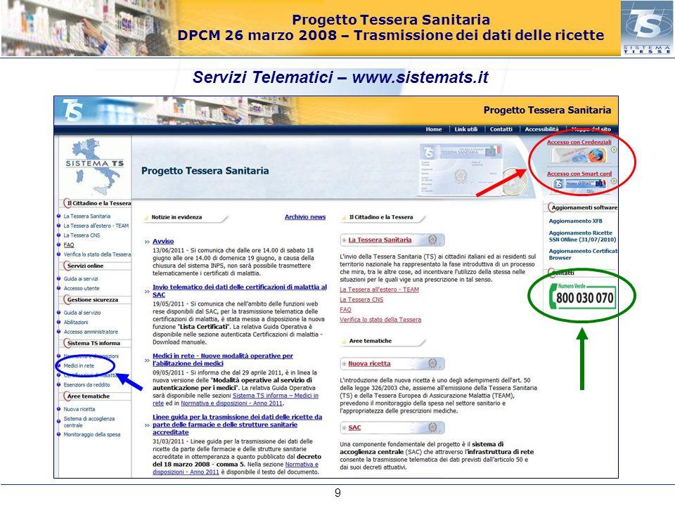 Progetto Tessera Sanitaria DPCM 26 marzo 2008 – Trasmissione dei dati delle ricette Servizi Telematici – www.sistemats.it 9