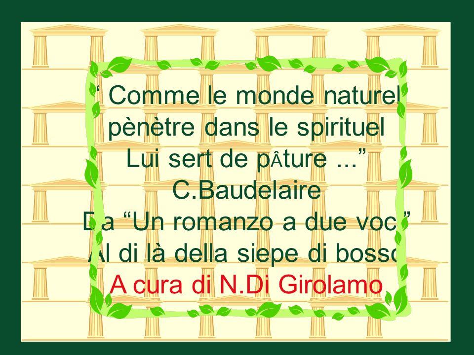 Comme le monde naturel pènètre dans le spirituel Lui sert de p ture... C.Baudelaire Da Un romanzo a due voci Al di là della siepe di bosso A cura di