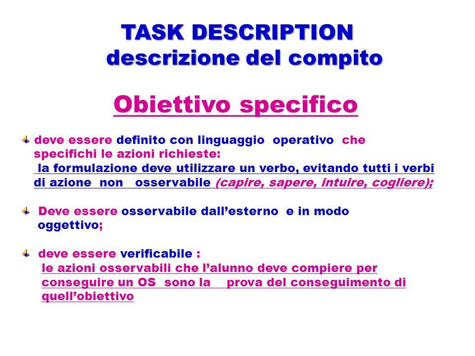 Obiettivo specifico deve essere definito con linguaggio operativo che specifichi le azioni richieste: la formulazione deve utilizzare un verbo, evitan