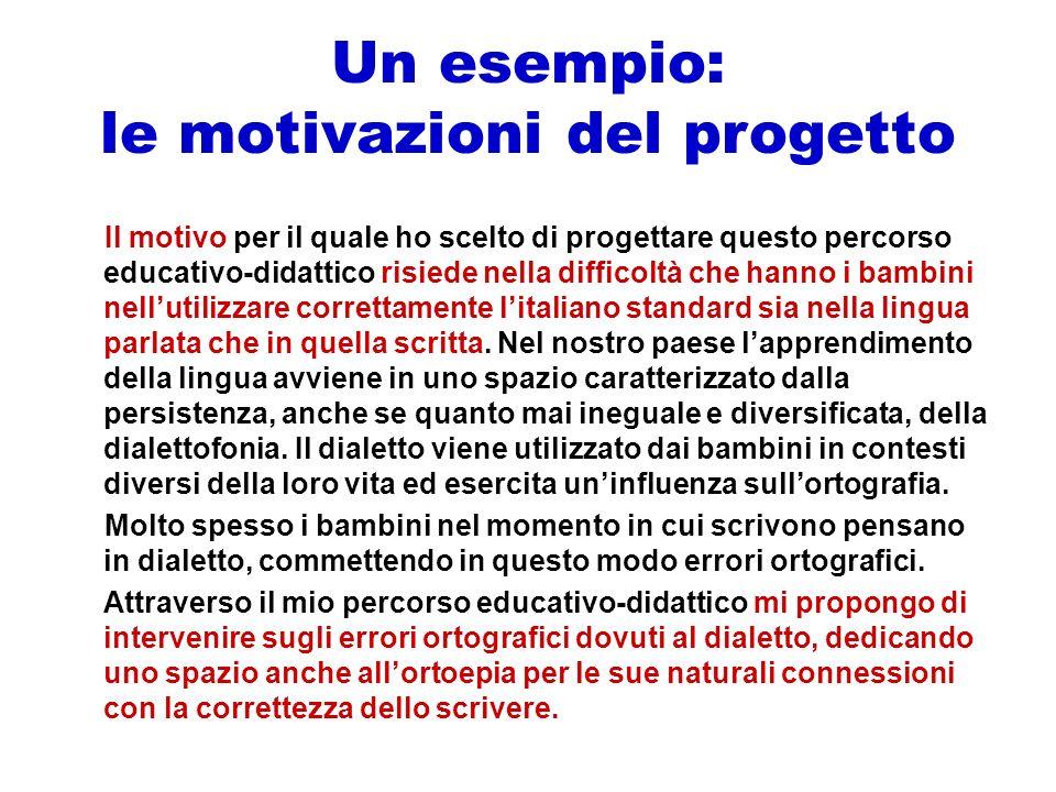 Un esempio: le motivazioni del progetto Il motivo per il quale ho scelto di progettare questo percorso educativo-didattico risiede nella difficoltà ch