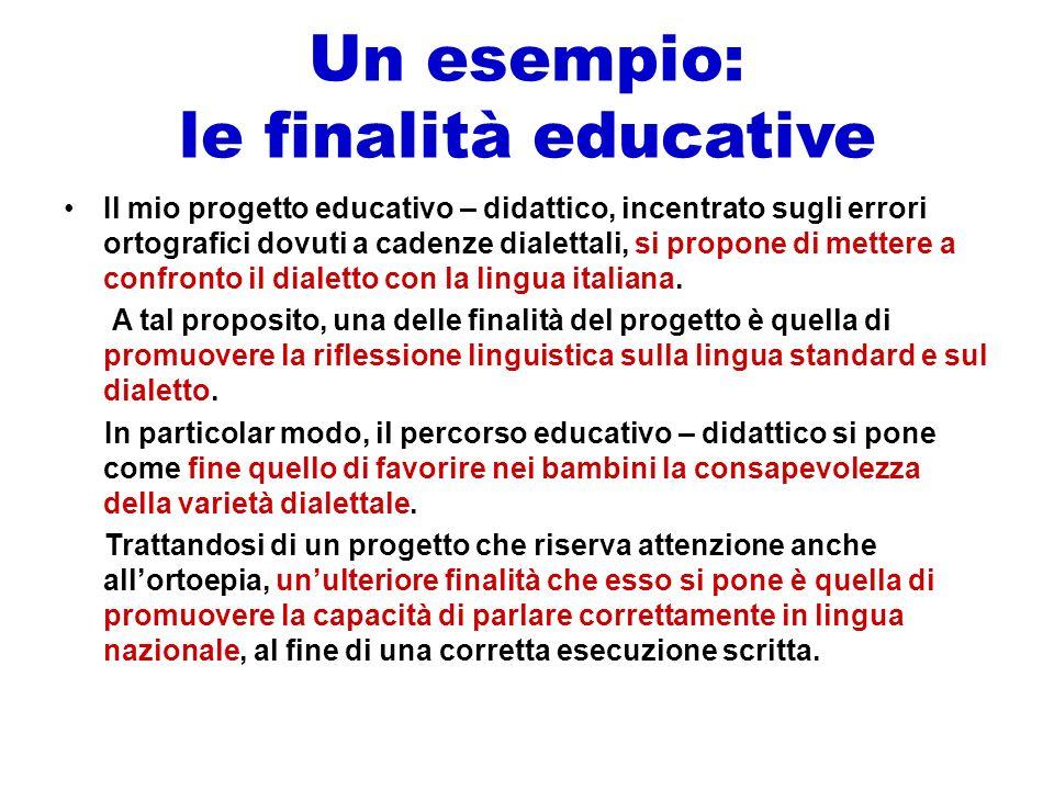 Un esempio: le finalità educative Il mio progetto educativo – didattico, incentrato sugli errori ortografici dovuti a cadenze dialettali, si propone d