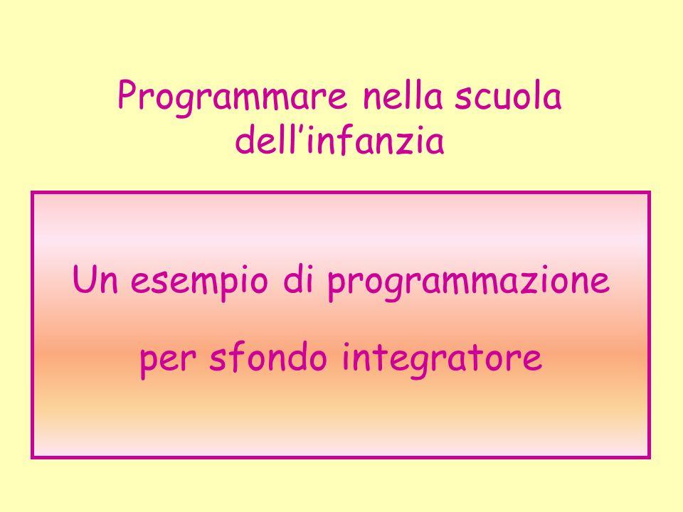 Programmare nella scuola dellinfanzia Un esempio di programmazione per sfondo integratore