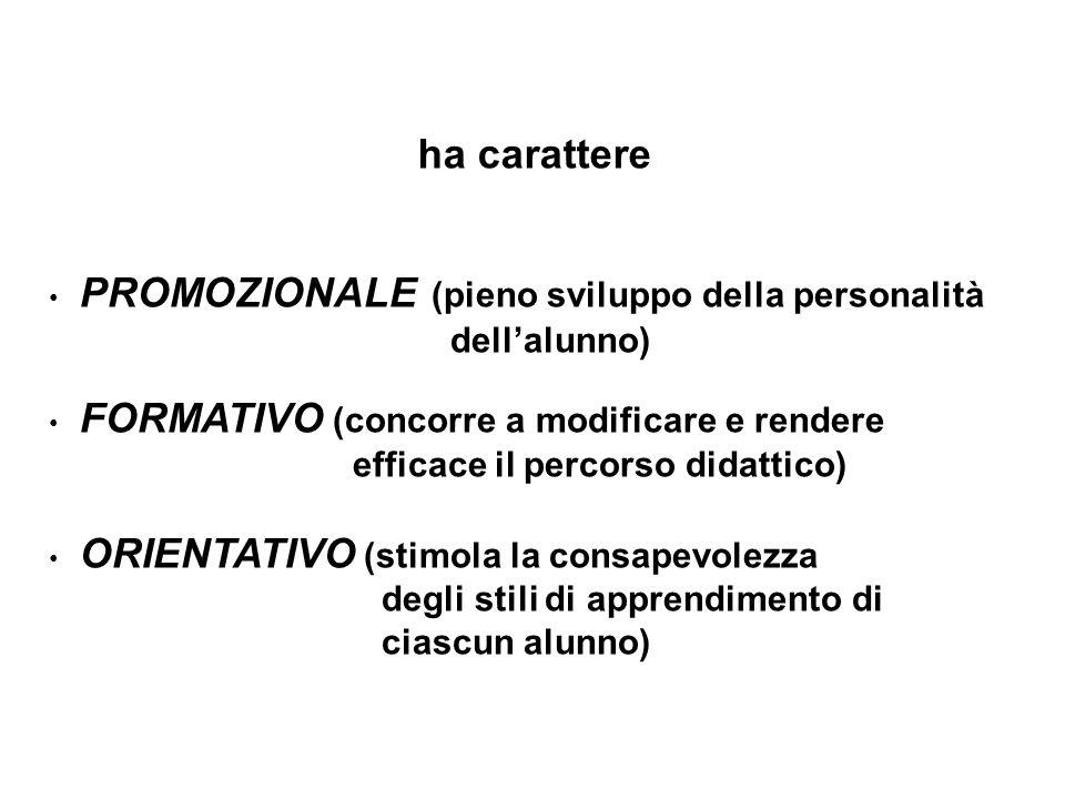 PROMOZIONALE (pieno sviluppo della personalità dellalunno) FORMATIVO (concorre a modificare e rendere efficace il percorso didattico) ORIENTATIVO (sti