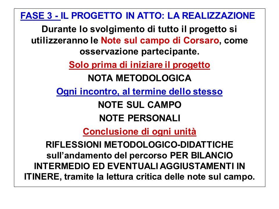 FASE 3 - IL PROGETTO IN ATTO: LA REALIZZAZIONE Durante lo svolgimento di tutto il progetto si utilizzeranno le Note sul campo di Corsaro, come osserva